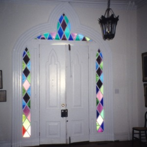 Doorway with stained glass, Beverly Hall, Edenton, Chowan County, North Carolina