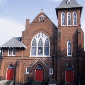 Front view, Hopkins Chapel A.M.E. Zion Church, Asheville, Buncombe County, North Carolina