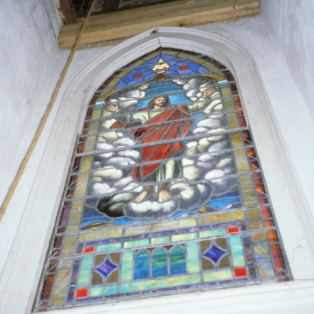 Stained glass window, Fulton United Methodist Church, Davie County, North Carolina
