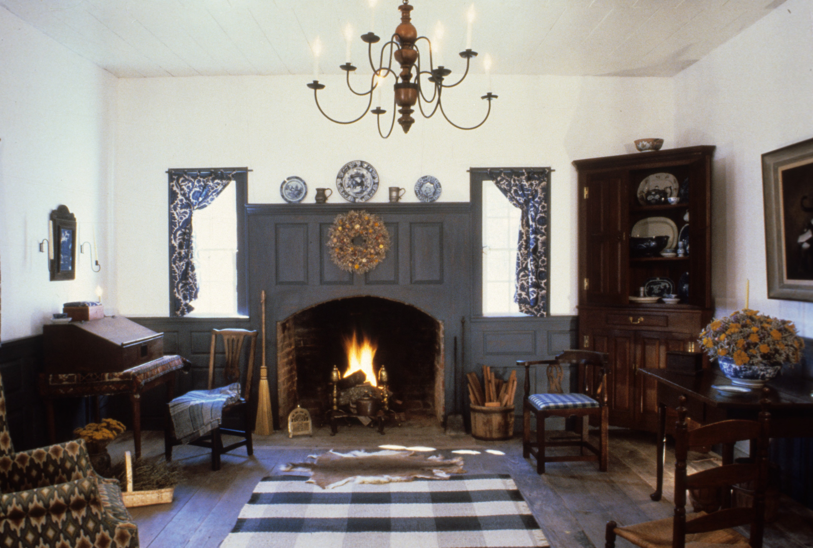interior view with fireplace old town plantation house