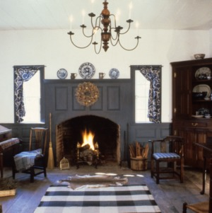 Interior view with fireplace, Old Town Plantation House, Edgecombe County, North Carolina