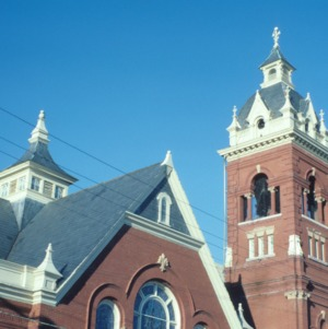 Partial view with tower, Queen Street Methodist Church, Kinston, Lenoir County, North Carolina