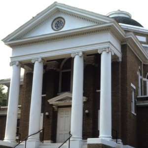 Entrance with portico, First Baptist Church, Lincolnton, Lincoln County, North Carolina