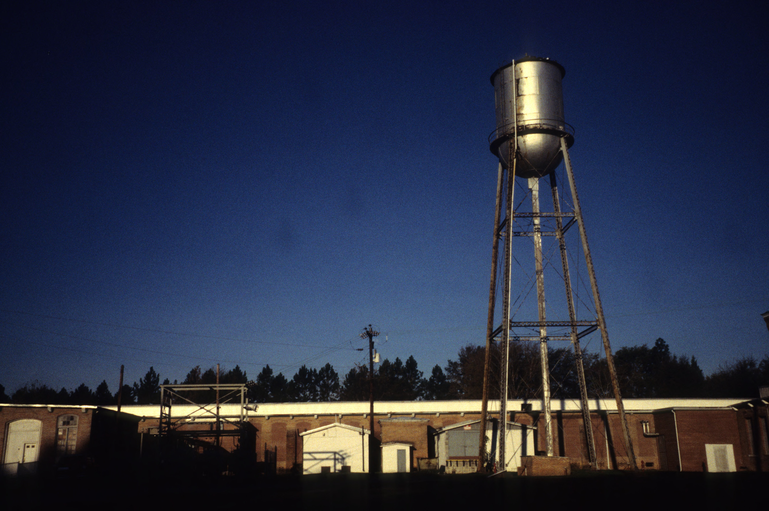 View with water tower, Edenton Cotton Mill, Edenton, Chowan County, North Carolina