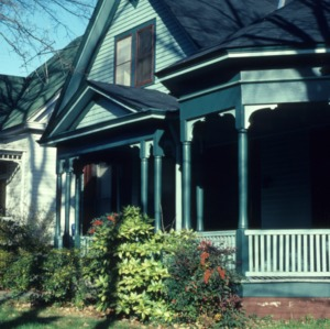 Partial view with porch, House, Oakwood, Raleigh, Wake County, North Carolina