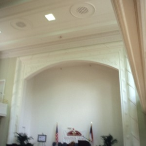 Interior view with stage, Charles L. Coon School, Wilson County, North Carolina