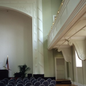 Interior view with gallery, Charles L. Coon School, Wilson County, North Carolina