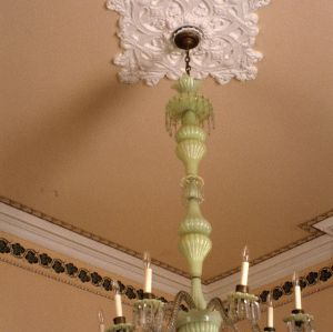 Ceiling detail with chandelier, Bretsch House, Raleigh, Wake County, North Carolina