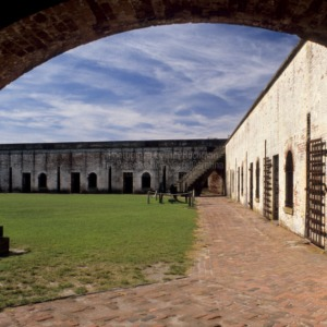 View of parade grounds through arch, Fort Macon, Carteret County, North Carolina