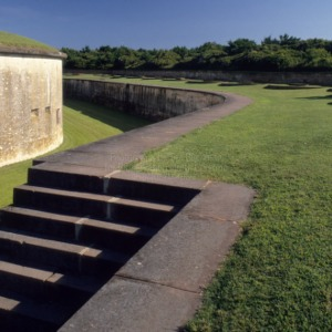 Stairs to moat, Fort Macon, Carteret County, North Carolina