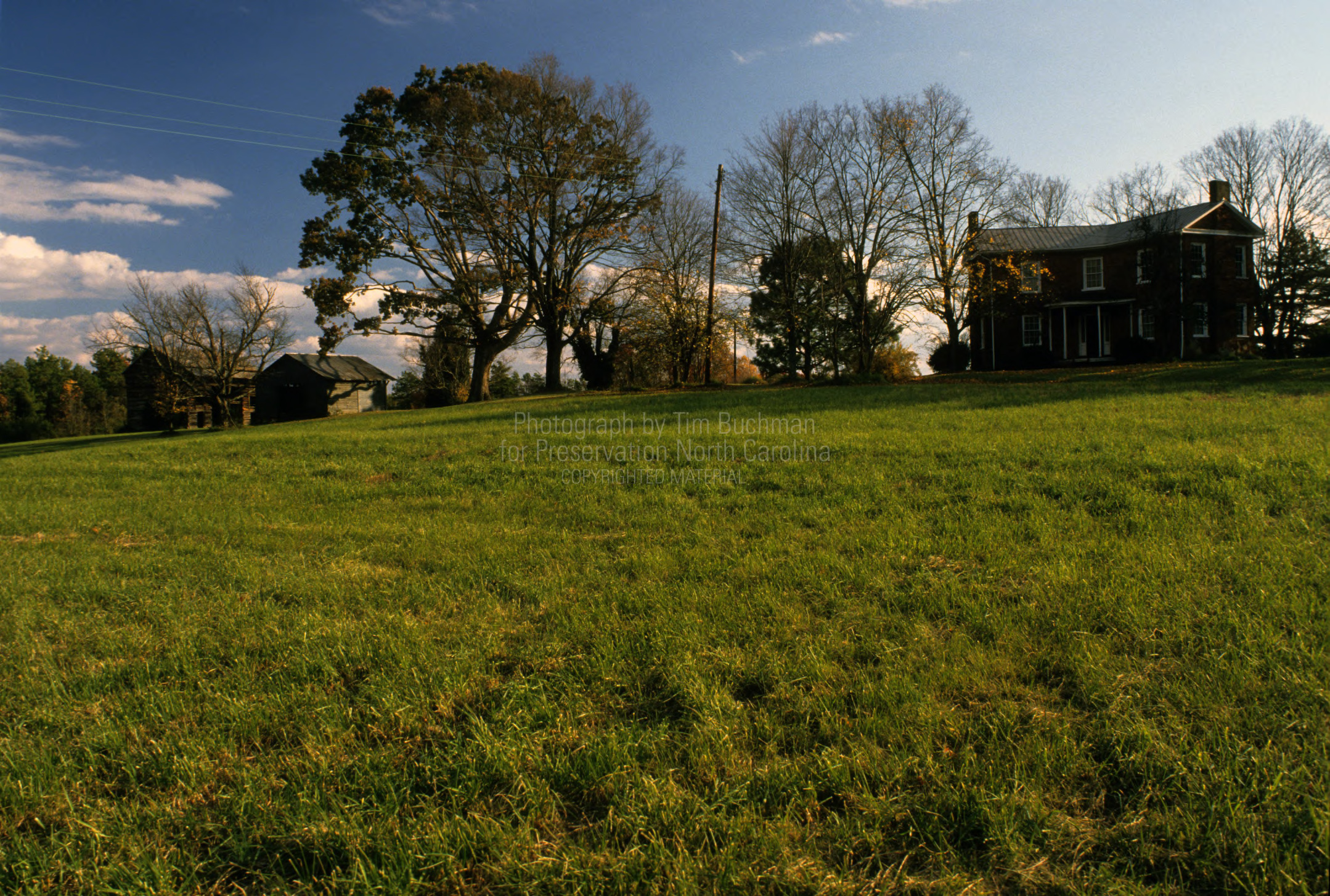 View from distance, Phillip Sowers House and Barn, Davidson County, North Carolina