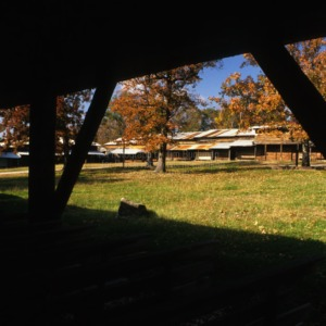 View of tents from arbor, Rock Springs Campground, Lincoln County, North Carolina