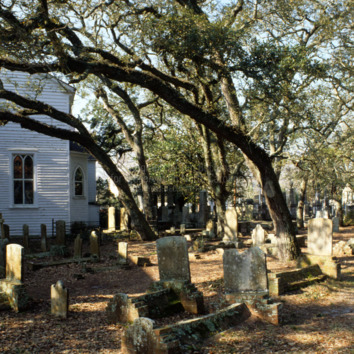 Cemetery with chapel, Old Burying Ground, Beaufort, Carteret County, North Carolina