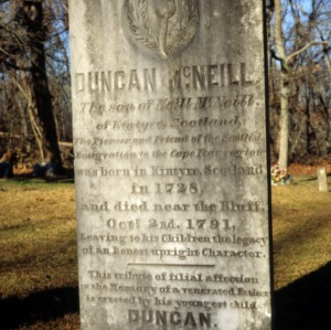 Grave of Duncan McNeill, Old Bluff Presbyterian Church, Cumberland County, North Carolina