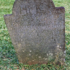 Grave of Hugh McCrarey, Jersey Baptist Church, Davidson County, North Carolina