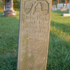 Grave of Jane Park, Jersey Baptist Church, Davidson County, North Carolina