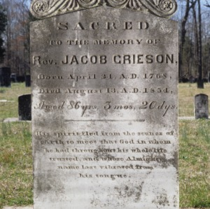 Grave of Reverend Jacob Grieson, Low's Lutheran Church, Guilford County, North Carolina