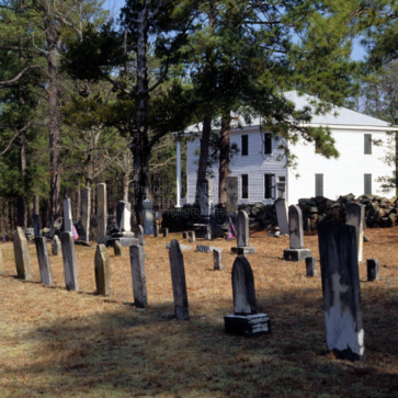 Cemetery with church, Longstreet Presbyterian Church, Fort Bragg, North Carolina