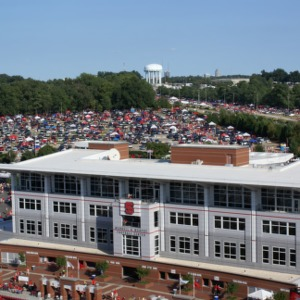 View of tailgating lot and downtown Raleigh from Carter-Finley Stadium