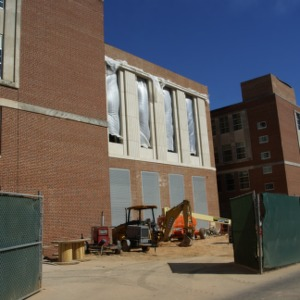 Riddick Engineering Laboratories renovation, view from Yarborough Drive