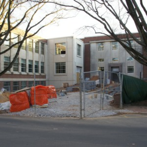 Riddick Engineering Laboratories renovation, view from Stinson Drive