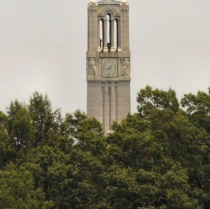 Memorial Bell Tower, top from a distance