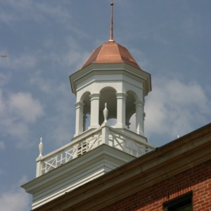 Berry Residence Hall, cupola installation