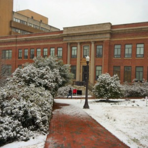 Page Hall, snow day
