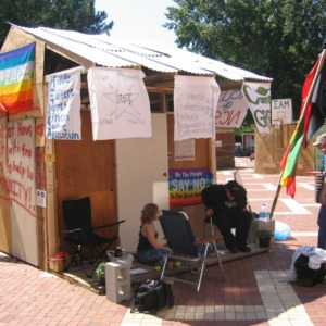 Shack-A-Thon fundraiser for Habitat for Humanity, 2004: NCSU ACLU, Campus Greens, and Middle Eastern North African Student Association