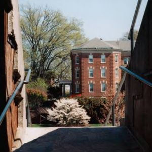 Syme Residence Hall in spring