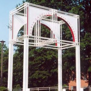 Brickyard entrance - a 25 foot high steel structure at west side of D. H. Hill Library