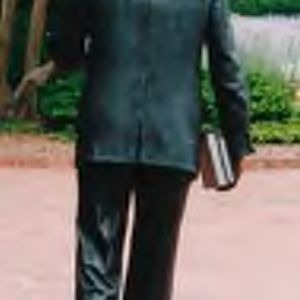 "Back view of ""The Strolling Professor,"" William R. Johnston, sculpted by J. Seward Johnson"
