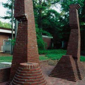 Brick sculptures on west side of Burlington Labs