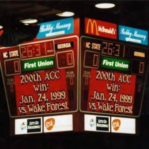 Scoreboard in Reynolds Coliseum