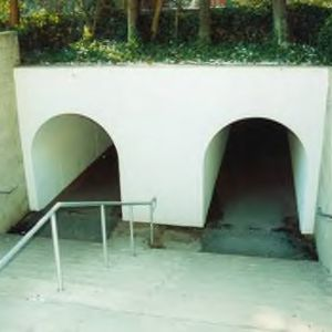 North entrance to tunnels under railroad tracks behind Mann Hall