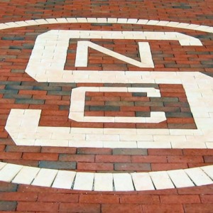 Block S design of NC State logo on Brickyard