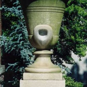 Urn on front porch of Thompson Theatre