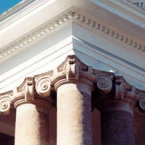 Ionic columns supporting Winston Hall front porch roof
