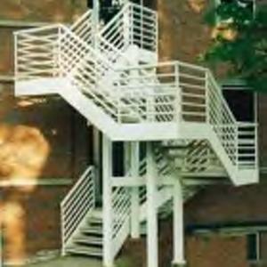 Exterior stairway railing at Scott Hall