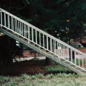 Railing on north side of Polk Hall