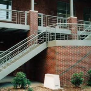 Railing at Nelson Hall courtyard