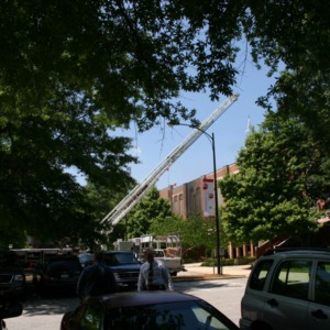 Reynolds Coliseum, exterior view of the response to the fire