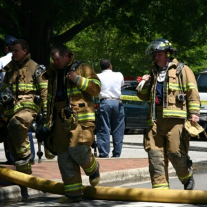 Reynolds Coliseum, firemen responding to the fire
