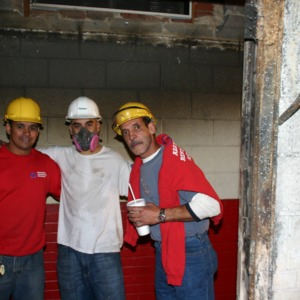 Reynolds Coliseum, fire clean-up workers