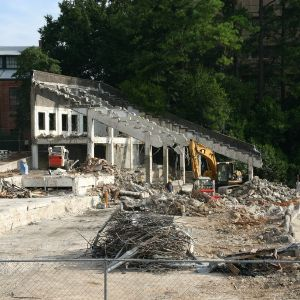 Riddick Stadium, West Stands, demolition