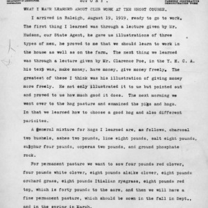 What I have learned about club work at the short course, August, 1919