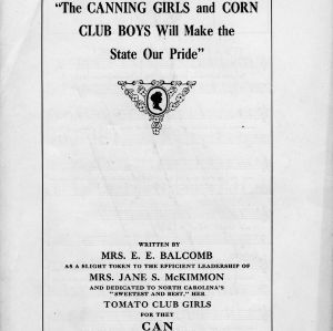 """Canning girls and corn club boys will make the state our pride"""