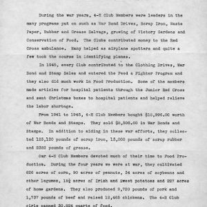 Report of Bladen County 4-H members' contribution to the war effort