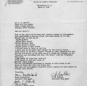 Letter to L. R. Harrill, state 4-H leader, from Ellen Southerland, assistant home agent, John E. Piland, assistant county agent, [and] C. W. Tarlton, assistant farm agent, March 4, 1946
