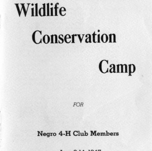 Seventh annual wildlife conservation camp for negro 4-H club